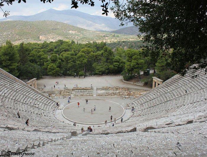 Road trip in Epidaurus Theatre, in Peloponnese