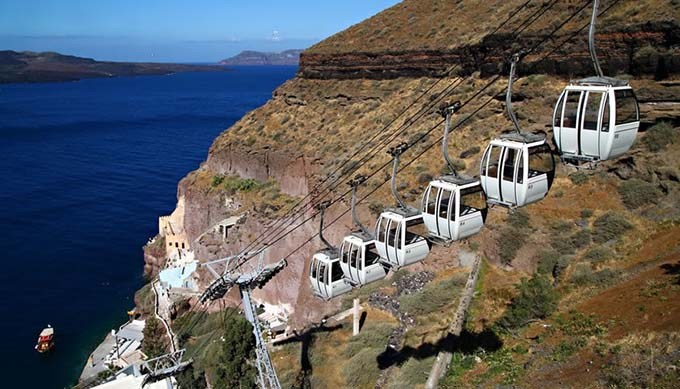 things to do in santorini cable car