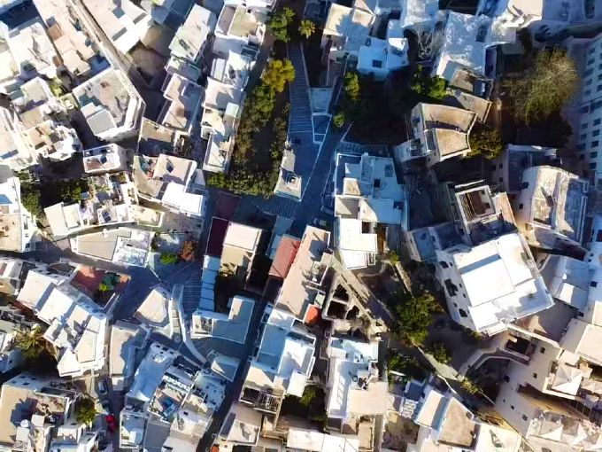 Naxos town Chora drone